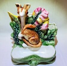 Austrian Majolica Pottery Marsupial Tobacco Match Holder Stand Early C1900Ss0