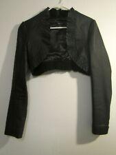 Black Leather Ruffled Bolero Shrug Jacket, Size M, Arden B