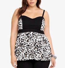 New Torrid Pinup Ivory Sweetheart Ivory Multi Leopard Print Babydoll Cami Top 3x
