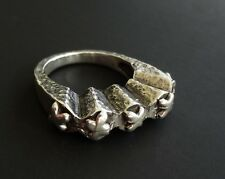 DLM Style Sterling Silver Five Cross Hammered Stacker Ring Size 7.25 RS752