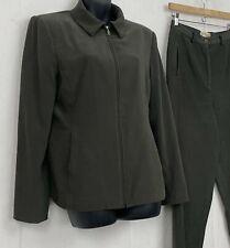 Vintage Trousers Etc WOmens Suit Set Zip Jacket Pants Green Faux Suede Work Sz 6