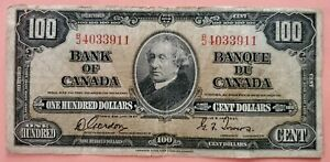 1937 Canada 100 Dollars Gordon / Towers Signatures , Serie Ended On 9 11 Rare...