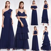 Ever-pretty Long Navy Blue Dresses Beach Dresses Bridesmaid Ball Prom Gown Maxi