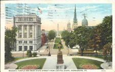 (n82) Harrisburg PA: Masonic Temple and West State Stre