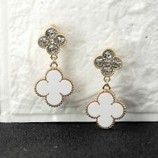 Pendientes CLIPS ON Corto Dorado pendientes Lucky Flor Blanco Cristal QD4