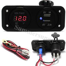12V LED Dual 2 USB Car Charger Digital Voltmeter Panel Mount FOR Motorcycle Boat