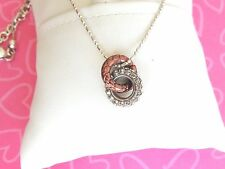 Brighton Necklace Pebble Pave Rings CHOCOLATE SILVER PEBBLED NWOT 66.00