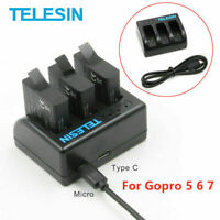 TELESIN 3 Slots Mini Battery Charger Charging For Gopro 7/6/5 Action Camera US