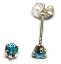 Sterling silver stud earrings 3mm crystal aqua blue solitaires