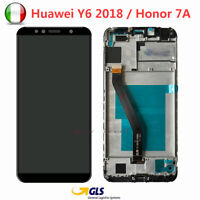 DISPLAY PER HUAWEI Y6 2018/ HONOR 7A TOUCH SCREEN LCD SCHERMO VETRO NERO+FRAME