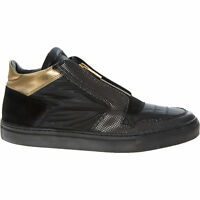 Designer ALBERTO GUARDIANI Black & Gold Leather Hi Top Trainers - s UK 9 / EU 43