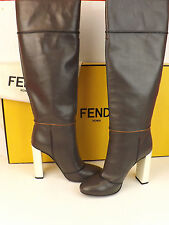 NIB FENDI DARK GRAY MIKADO LEATHER ZIP UP CONTRAST HEEL TALL BOOTS 40 $1550