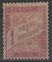 """FRANCE YVERT TAXE 39 SCOTT POSTAGE DUE  J 40 """"1 F  ROSE STRAW 1896 """" MH VF  K517"""