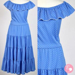 BLUE SPOT, FRILL NECK, TIERED 1970s VINTAGE FLAMENCO STYLE HIPPY DRESS 10