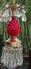 1of3 Vintage cranberry mini ruby red Brass hanging petite lamp chandelier tole
