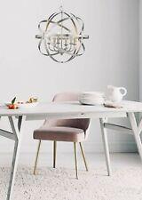 """Orbit 23"""" 6-Light Modern Sphere Orb Chandelier Satin Nickel Open Kitchen lantern"""