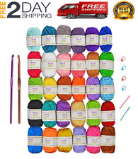 30 Mixed Yarn Lot Skeins Assorted Colors Huge Lot Acrylic Wool Balls Usa Free