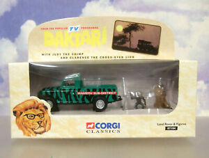 1998 CORGI CLASSICS 1/43 DAKTARI LAND ROVER WITH CLARENCE & JUDY FIGURES 07104