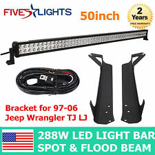 97-06 Jeep Wrangler TJ LJ Mounting Bracket + 50inch 288W LED Light Bar+Wiring US