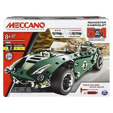 Meccano 5 in 1 Model Roadster With Pull Back Motor Construction Set 174pcs