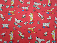 Sanderson Curtain Fabric 'Dogs in Cloggs' 1.1 METRES Red - Abracazoo Fabrics