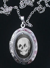 Skull Optical Illusion Lady at Mirror Ornate Silver Locket Necklace Goth Weird