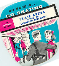 SKATE ARENA ~LAKEWOOD NJ~ Great Old Rollerskating Sticker / Luggage Label, 1955