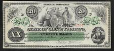 South Carolina Obsolete - 20 Dollars - 1872 - Revenue Bond Scrip - Unc.