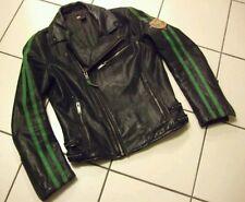 DIESEL BLACK & GREEN LEATHER MOTORCYCLE BIKER JACKET M classic 50s asymmetrical