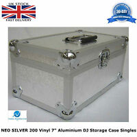"NEO Aluminium Silver DJ Flight Case Store 200 Vinyl Single 7"" Record + Partition"