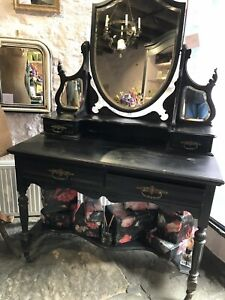 Antique Dressing Table Black in French Style - Foxed mirrors.