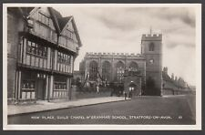 Postcard Stratford on Avon view of New Place Guild Chapel and Grammar School RP
