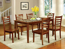 Kitchen Dining Room 7pc Dining Set Faux Marble Top Dining Table & 6 Side Chairs