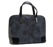Made in Italy GENUINE LEATHER  Handbag  Shoulderbag Snake-print Black / Grey