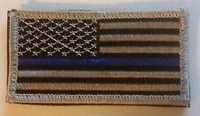 """US FLAG Patch Black and Silver with Blue Stripe with Hook/Loop Backing 3.5"""" x 2"""""""