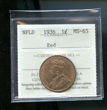 1936 Newfoundland Large Cent ICCS Certified MS65  IC13