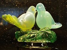 Murano Italy Art Glass 2 SPARROWS LOVE BIRDS on branch Vintage 1980s