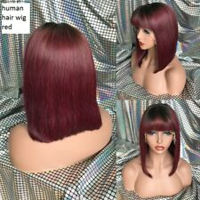 thick below eyebrow fringe red ombre bob Brazilian human Hair lace front Wig