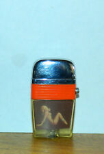 Vintage Scripto VU Lighter Sexy Blonde Girl with Red - Orange Band