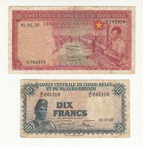Belgian Congo 2x circ. banknotes @ low start