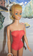 1964 SWIRL PONYTAIL BARBIE DOLL~Lt.Blonde~Perfect Face~CORAL SUIT~923~Tote+Shoes