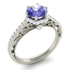 Certified 1.23 Ct Round Tanzanite & SI Diamond Engagement Ring In 14K White Gold
