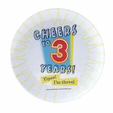 Cheers to 3 Years Kids 3rd Birthday Party Favor Gift Tray Melamine Snack Plate