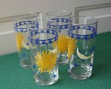 More details for french celestial sun moon drinks glasses - set of 4 - retro witchy blue yellow