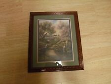 "Vintage Homco Home Interior  ""Amish Children Fishing"" By Carl Valentine 20x17"