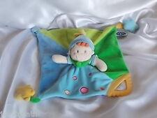 Doudou lutin, clown, bleu et vert, anneau de dentition, Mots d'enfants