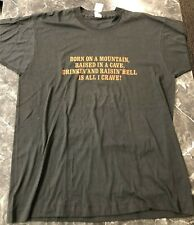 New listing Vintage T Shirt - Born On A Mountain Raised in a Cave Nos L Black Screen Stars