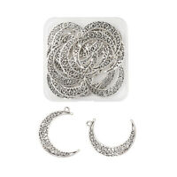 1 Box/20pcs Lead Free Antique Silver Hollow Moon Crescent Symbol Filigree Charms