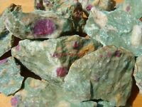 RUBY IN ZOISITE ROUGH ROCKS - 2 1/2 LB Lot -TUMBLE CABBING ROUGH - FREE SHIPPING