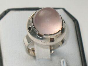 FINNLAND 830er SILBER RING ROSENQUARZ ausgefallen FINLAND SELTEN verstellbar